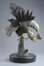 'The Eagle Has Landed' bronze sculpture by Miles Tucker, side view.