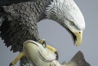 Another close up of 'The Eagle Has Landed' bronze sculpture by Miles Tucker.