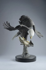 Another view of 'The Eagle Has Landed' sculpture by Miles Tucker.